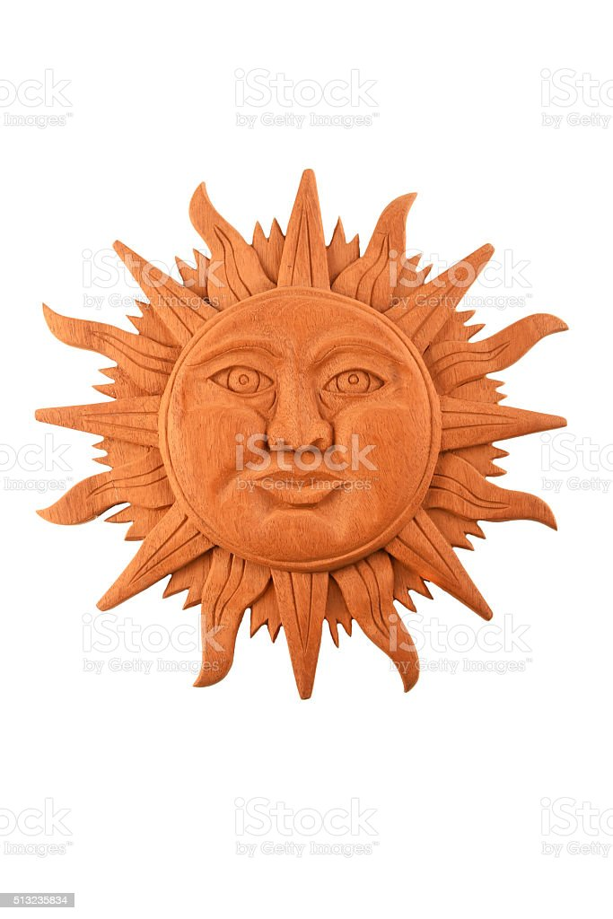 Mexican wooden carved Mayan sun symbol plate isolated on white royalty-free stock photo