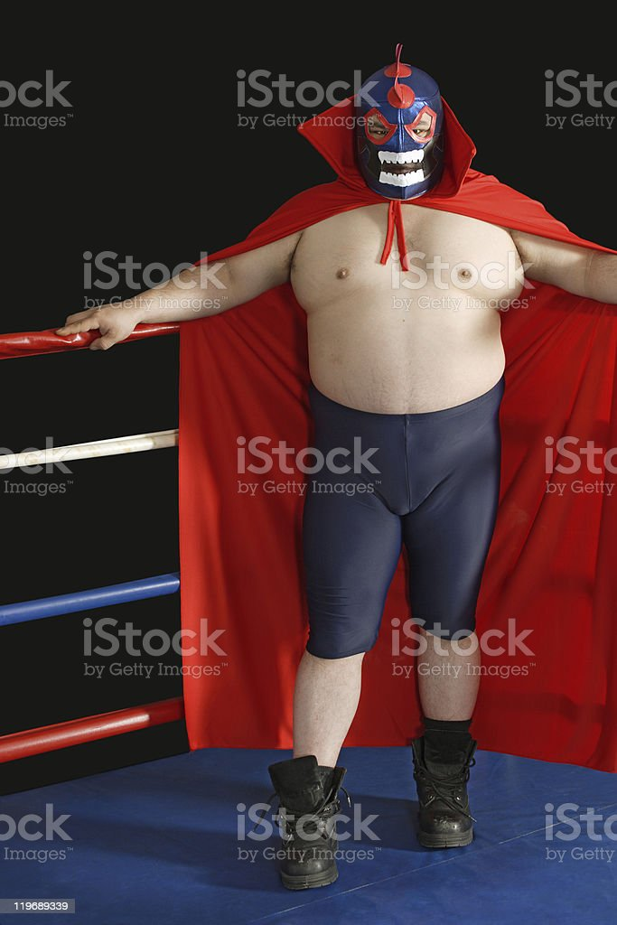 Mexican wrestler in the ring stock photo