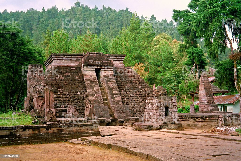 Mexican-style hindu temple in Java, Candi Sukuh, Indonesia stock photo