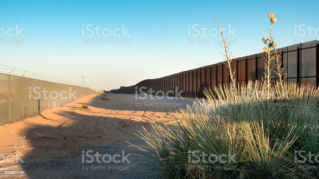 US Mexico Border in New Mexico stock photo