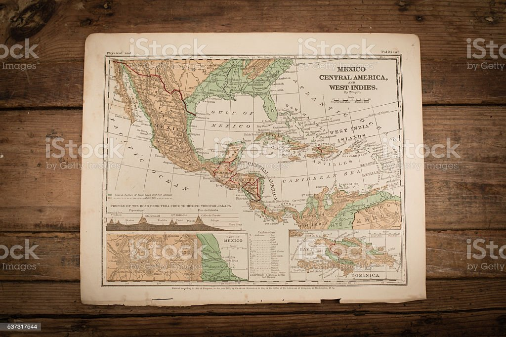 Mexico, Central America Map Illustration, Travel, Antique 1871 Book Page stock photo