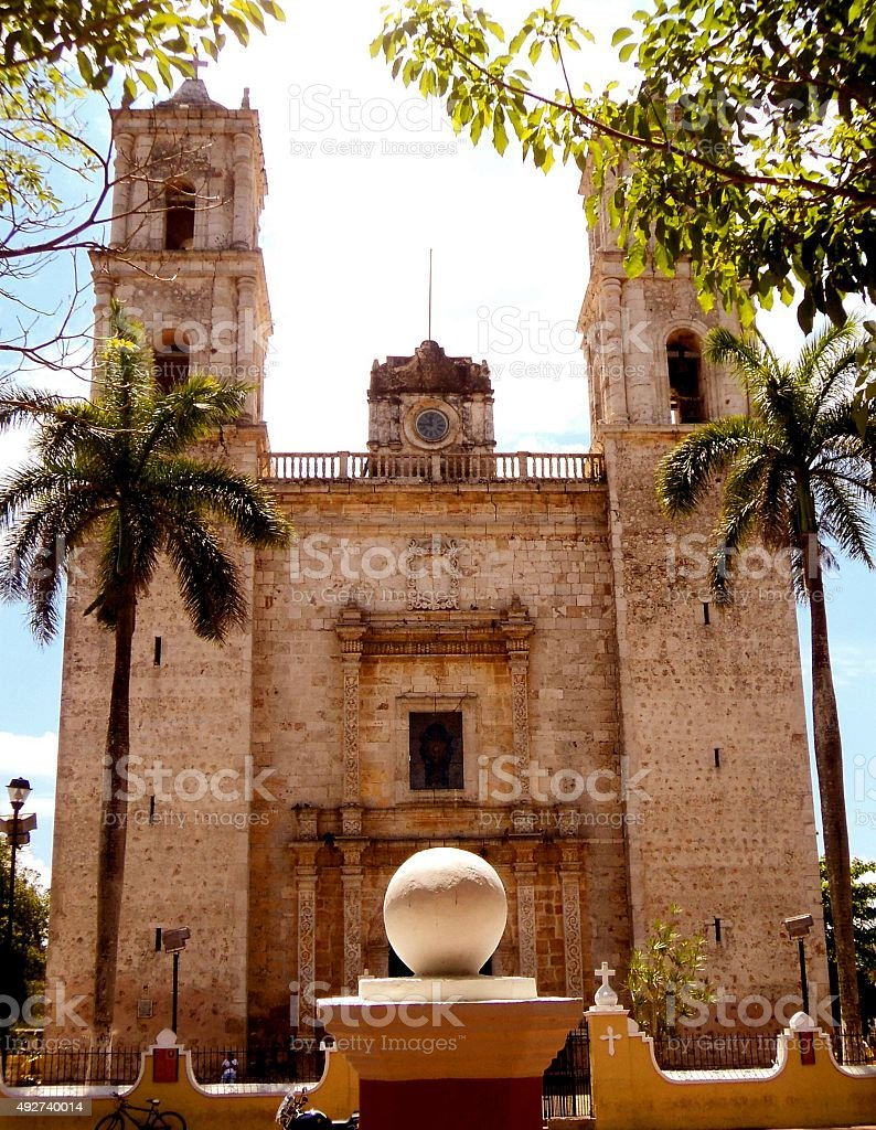 mexico church cathedral Merida colonial stock photo