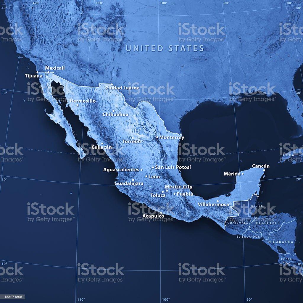 Mexico Cities Topographic Map stock photo