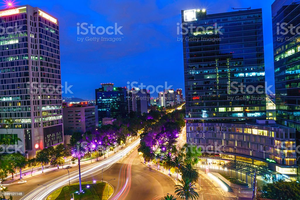 Mexico City evening scene stock photo