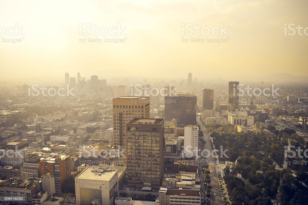Mexico city industrial part covered in haze on sunset, Mexico stock photo