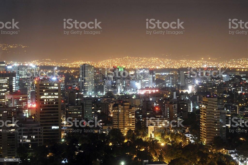 Mexico City lights at night stock photo