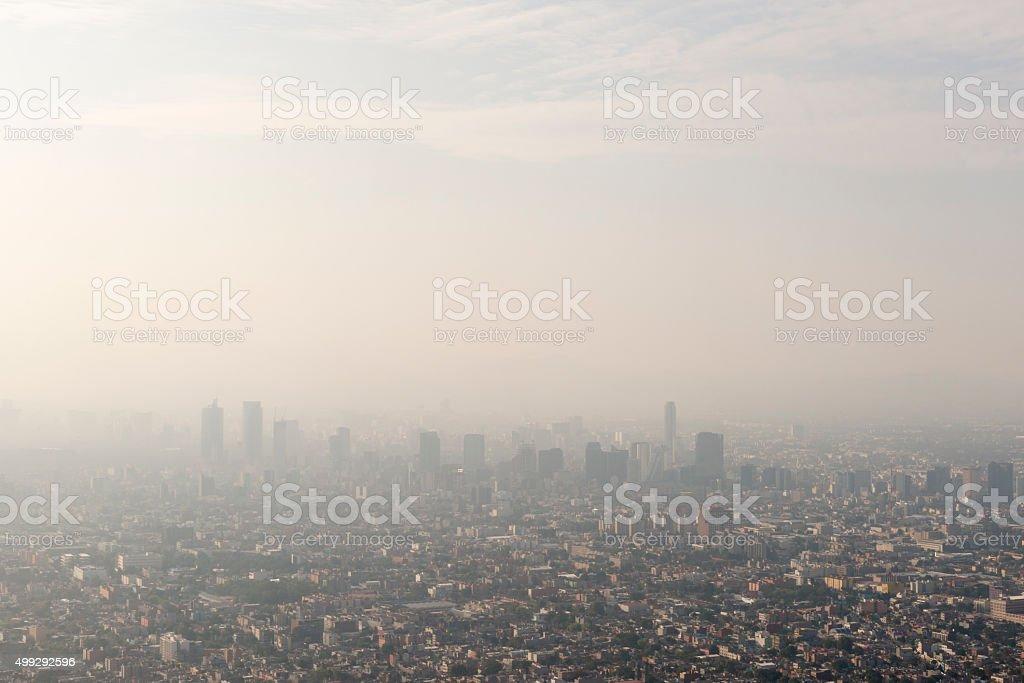 Mexico City skyline and smog stock photo