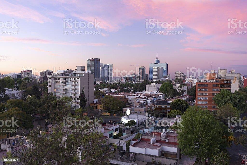 Mexico city skyline at sunset stock photo