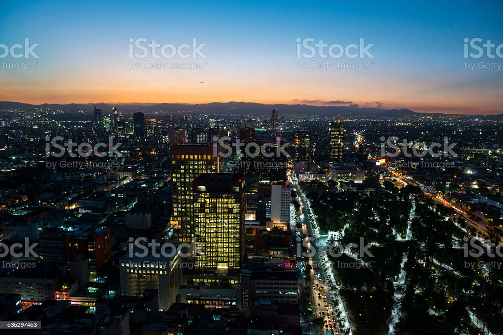 Mexico City skyline at sunset stock photo