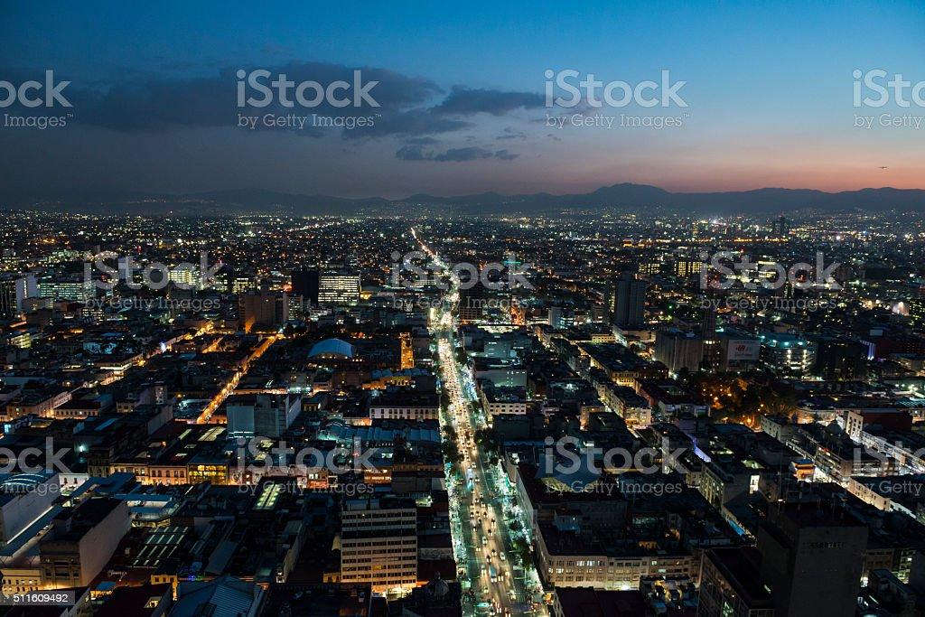 Mexico City skyline at susnset stock photo