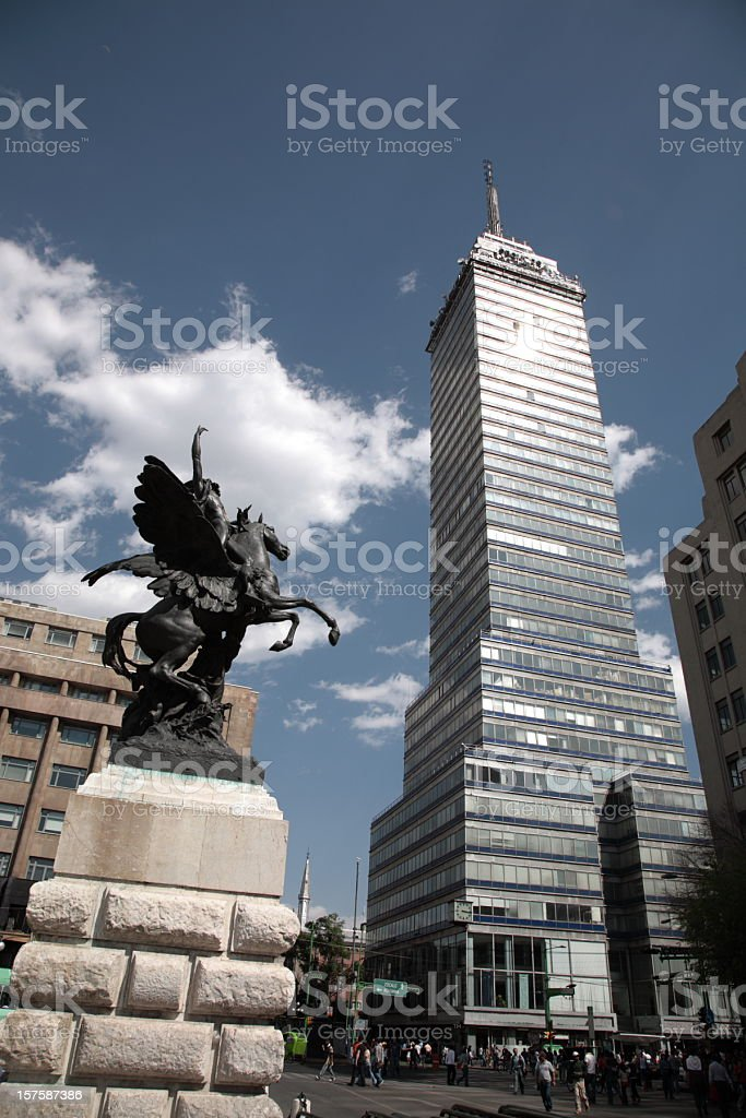 Mexico City with statues and buildings royalty-free stock photo