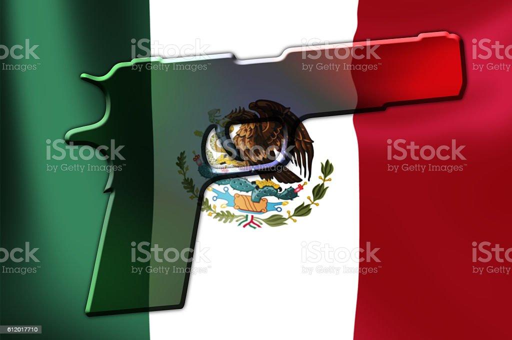 Mexico Flag Hand Gun stock photo