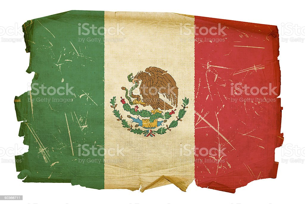 Mexico Flag old, isolated on white background. royalty-free stock photo