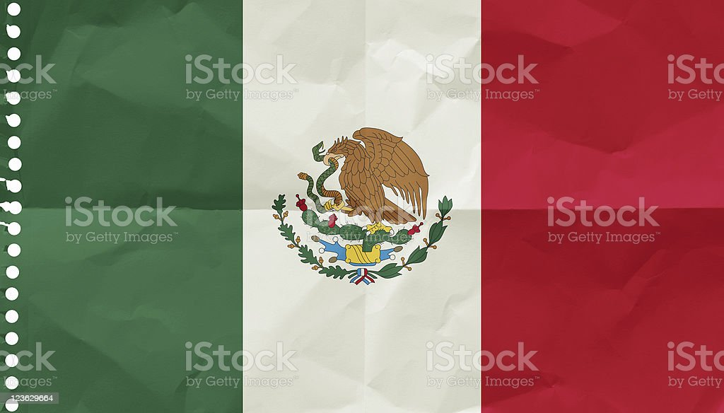Mexico, Flag on a piece of paper royalty-free stock photo