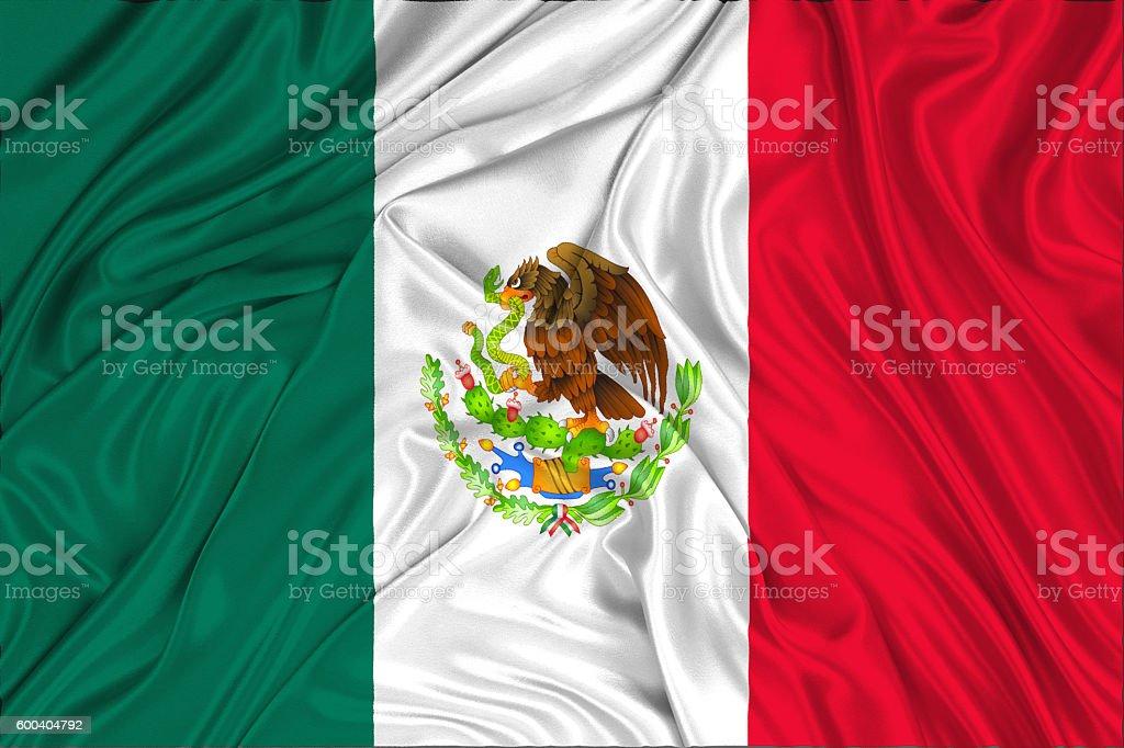 Mexico flag on a silk drape waving stock photo