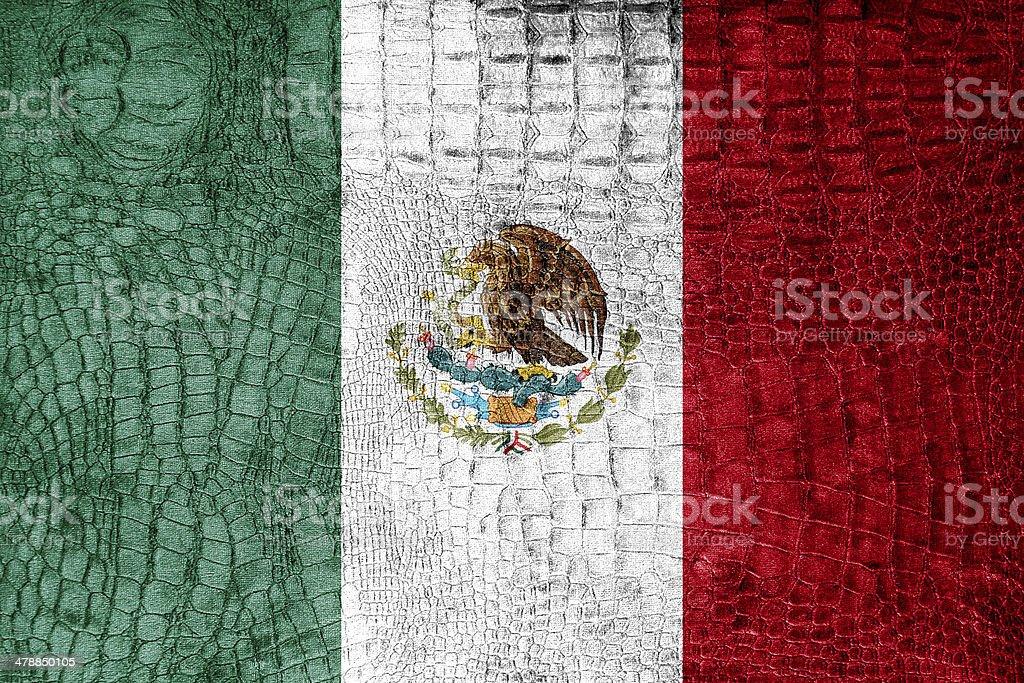 Mexico Flag painted on luxury crocodile texture stock photo