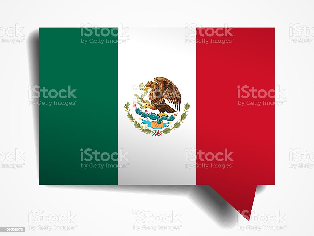Mexico flag paper 3d realistic speech bubble on white background stock photo