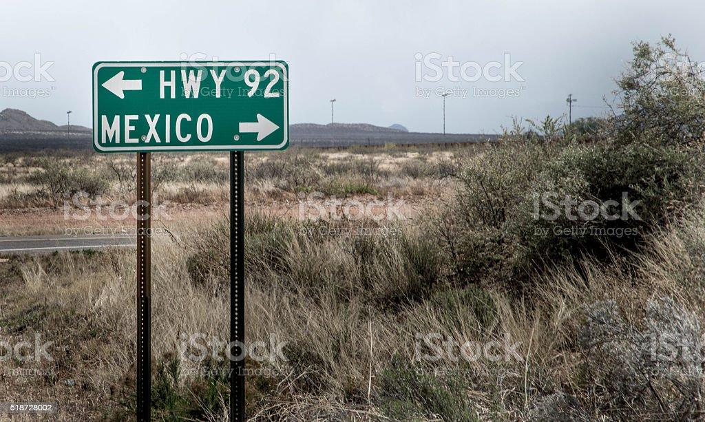 Mexico highway sign stock photo