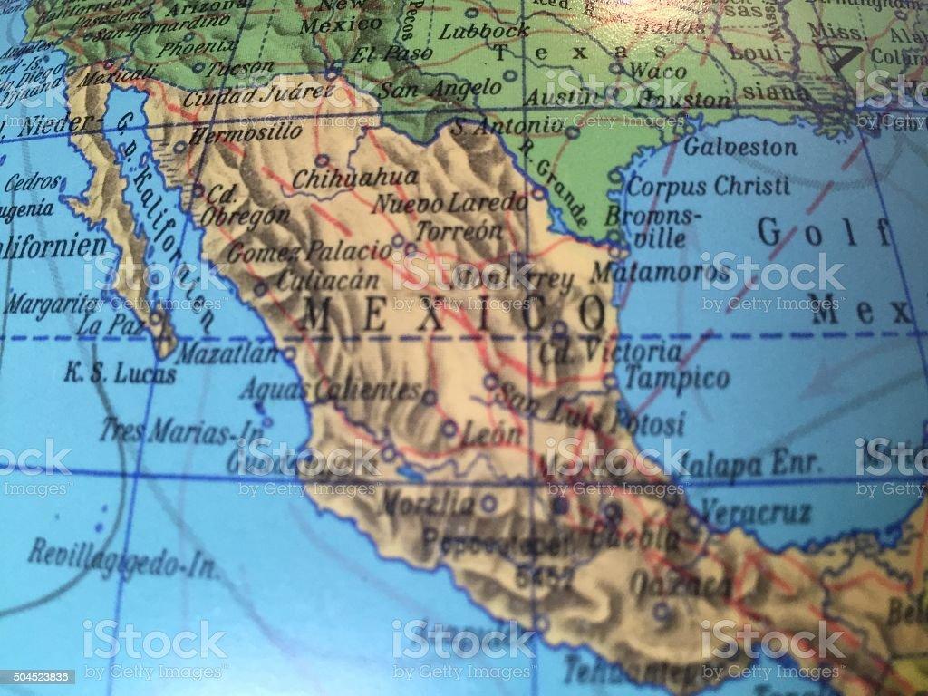 Mexico Karte - Alter Globus / Weltkarte stock photo