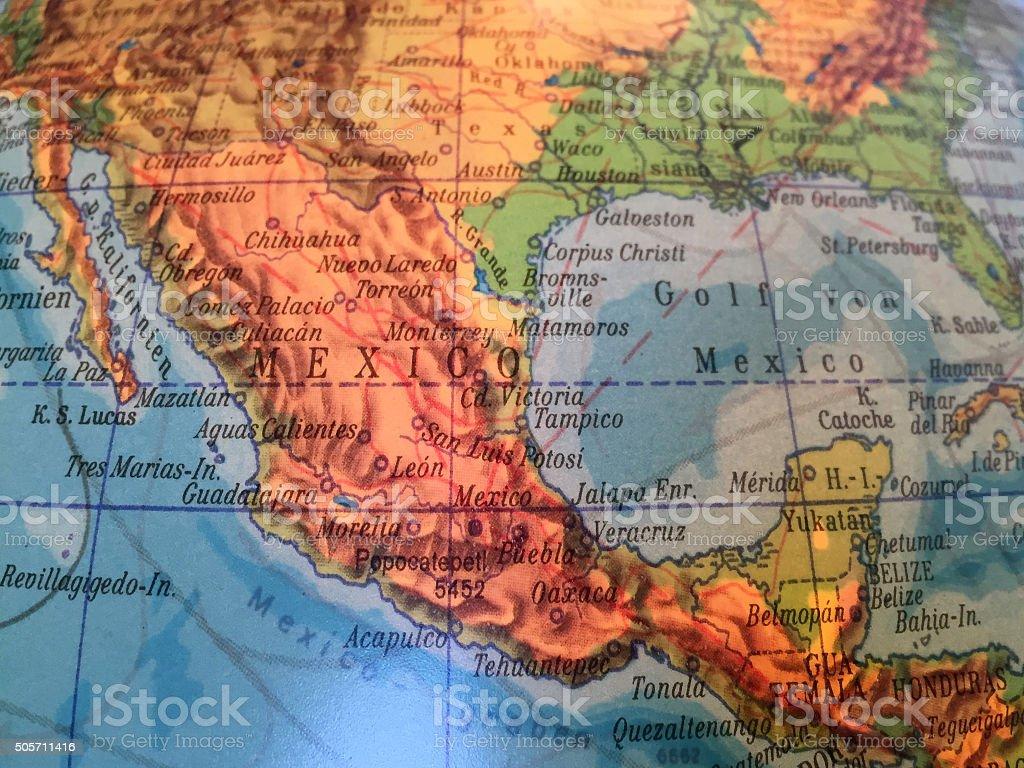 Mexico Landkarte - Alter Globus / Weltkarte stock photo