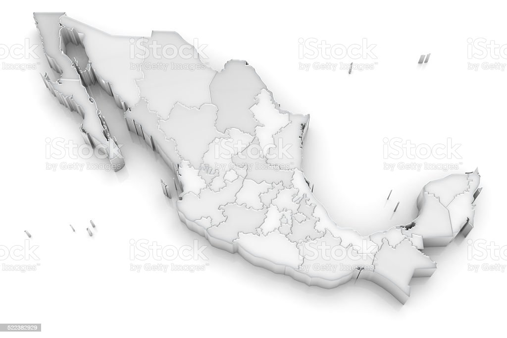Mexico map with states - 3d on white stock photo
