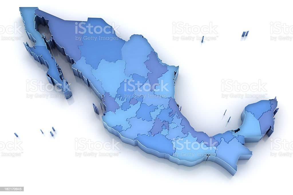 Mexico map with states stock photo