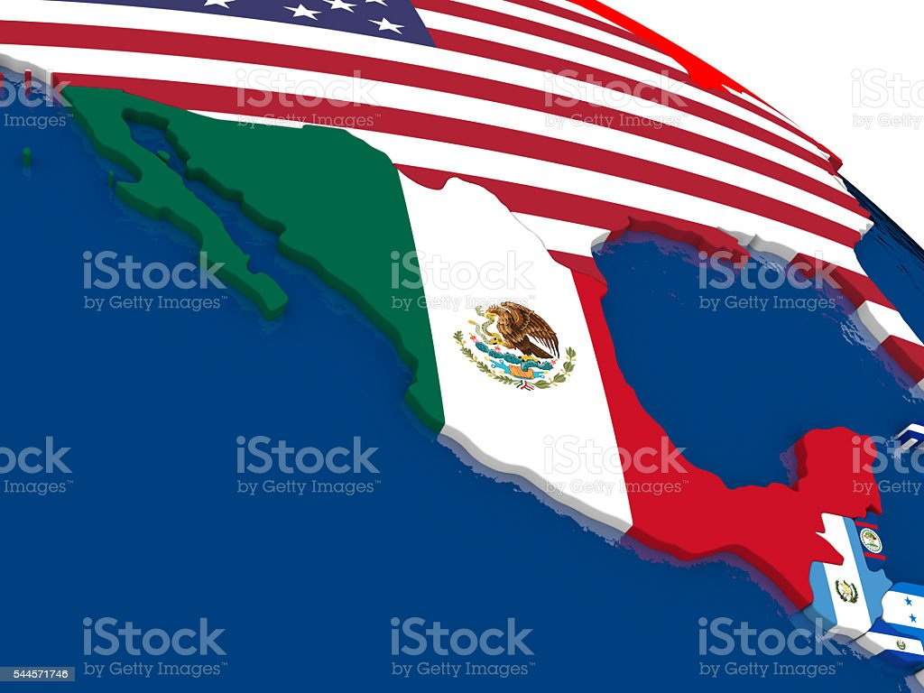 Mexico on 3D map with flags stock photo