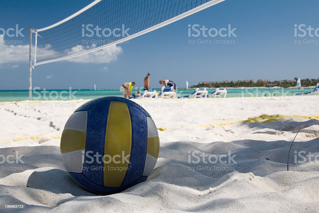mexico on beach ball and net stock photo