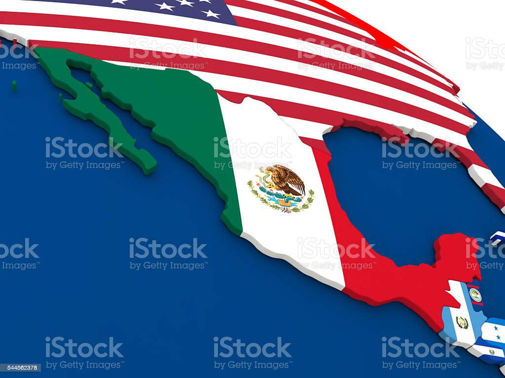 Mexico on globe with flags stock photo