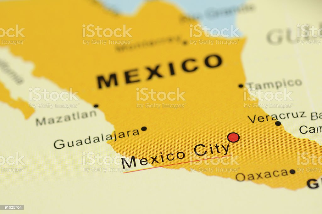 Mexico on map stock photo