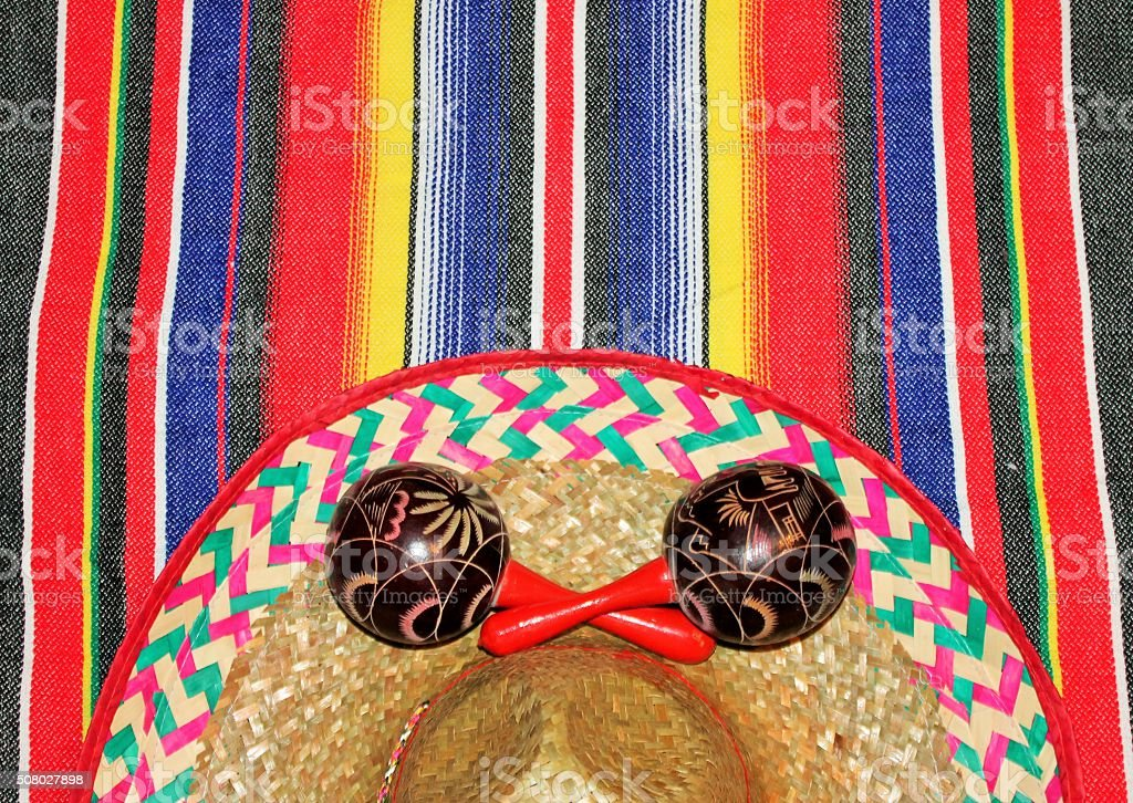 Mexico poncho sombrero serape background with copy space stock photo