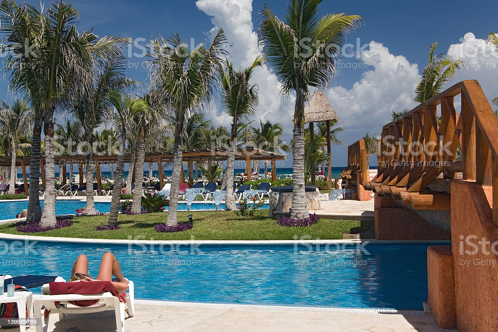 mexico pool and ocean royalty-free stock photo