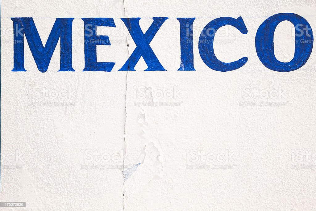Mexico Sign on Stucco Wall, Hand Painted royalty-free stock photo