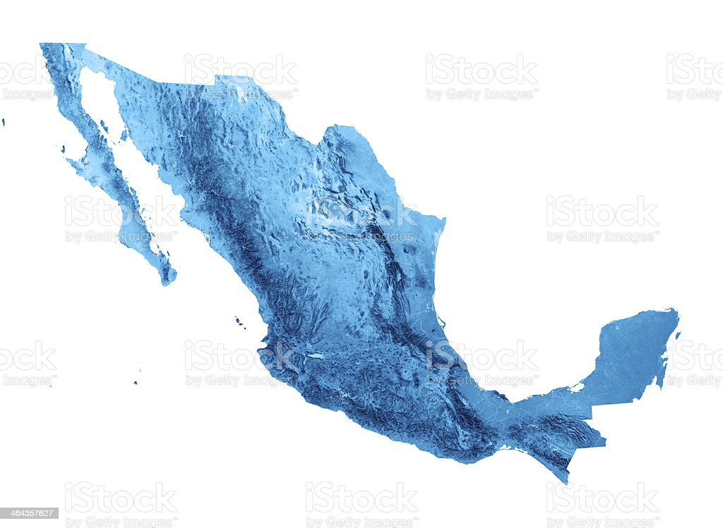 Mexico Topographic Map Isolated stock photo