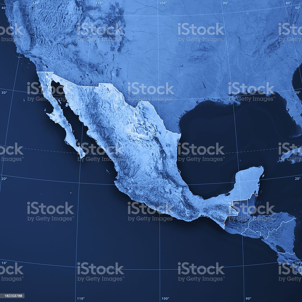 Mexico Topographic Map royalty-free stock photo