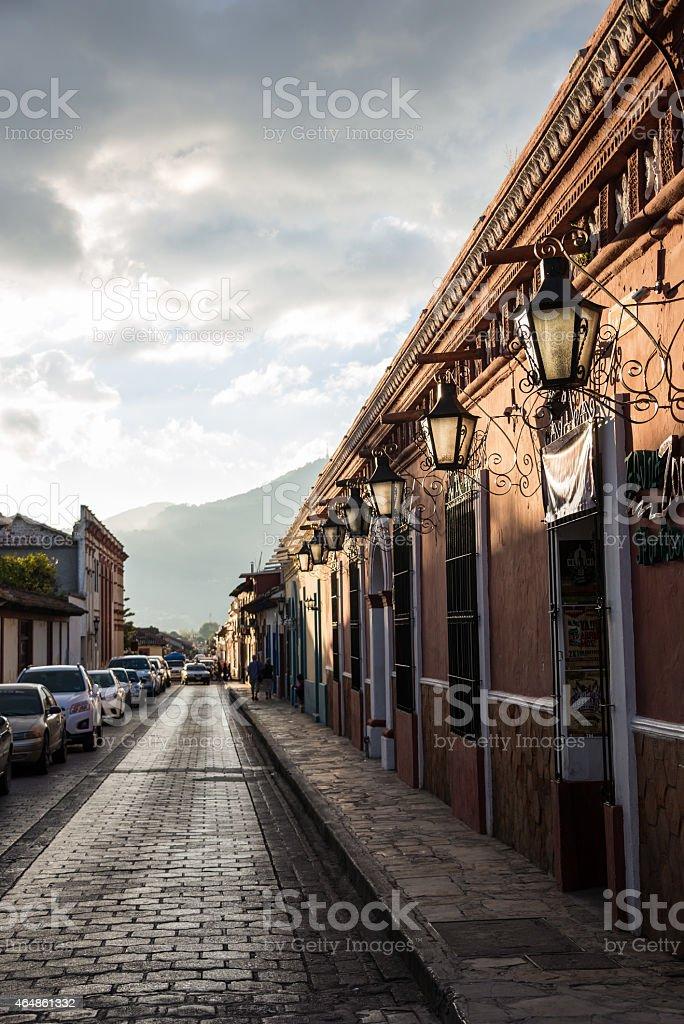 Mexico typical street in San Cristobal de Las Casas. Chiapas. stock photo