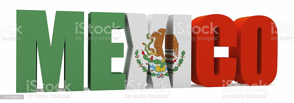 3D Mexico with Flag royalty-free stock photo
