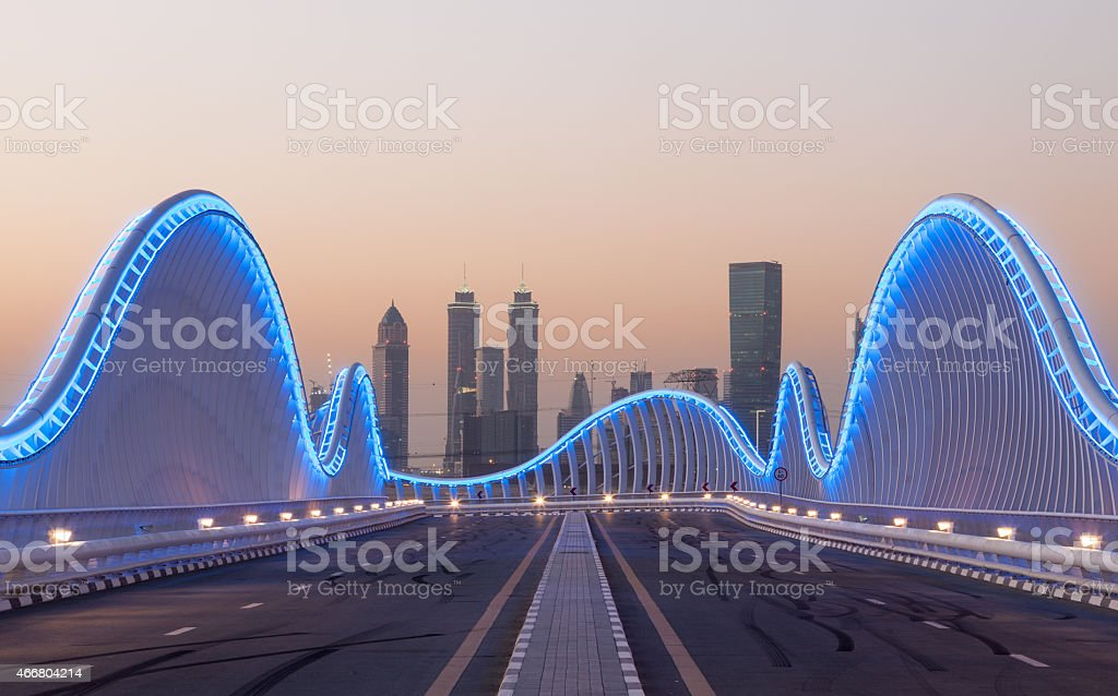 Meydan bridge in Dubai stock photo