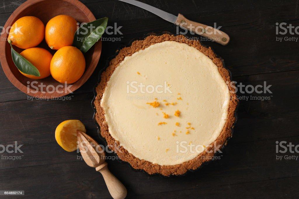 Meyer Lemon Pie With A Graham Cracker Crust stock photo