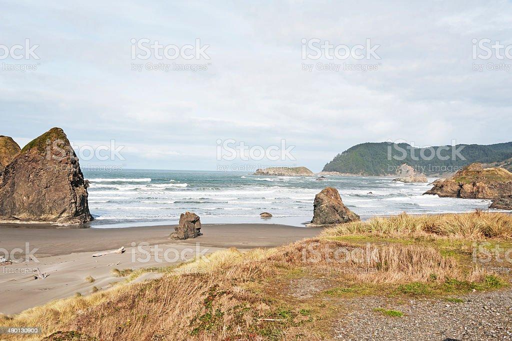 Meyers Creek Beach with Rocky Coast Line and Waves stock photo