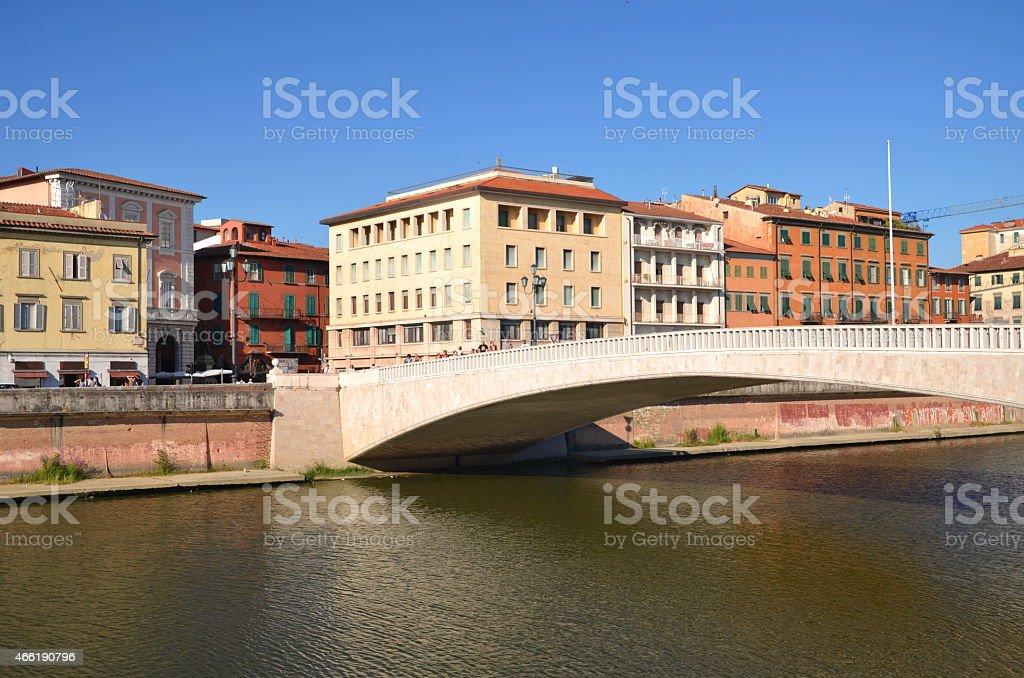 Mezzo Bridge over Arno river in Pisa, Italy stock photo