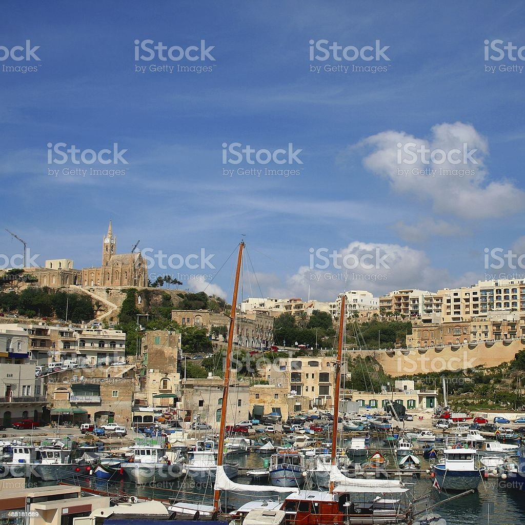 Mgarr Gozo Malta townscape port and Cathedral royalty-free stock photo