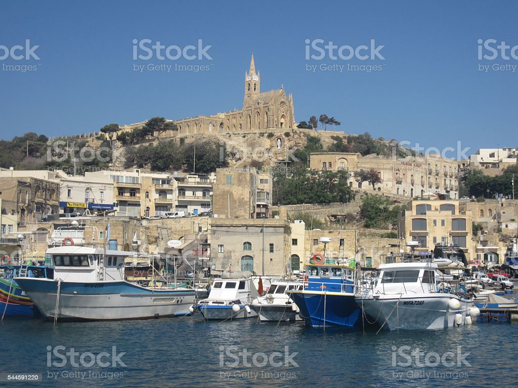 Mgarr Harbour on the Island of Gozo in Malta stock photo