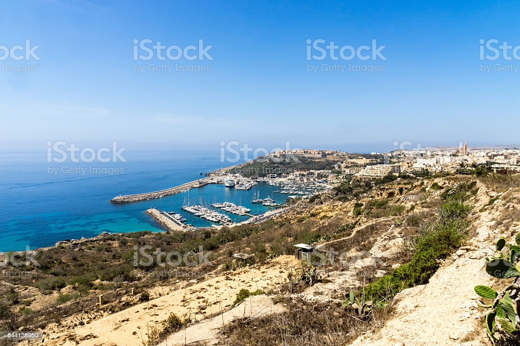 Mgarr harbour stock photo