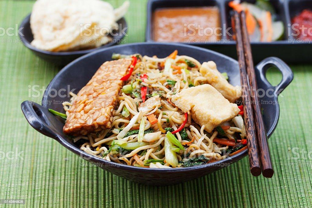 Mi goreng, mee goreng Indonesian cuisine, spicy stir fried noodles stock photo