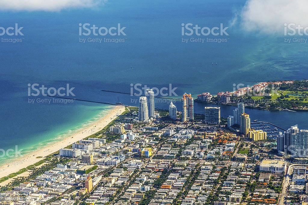 Miami aerial of town and beach royalty-free stock photo