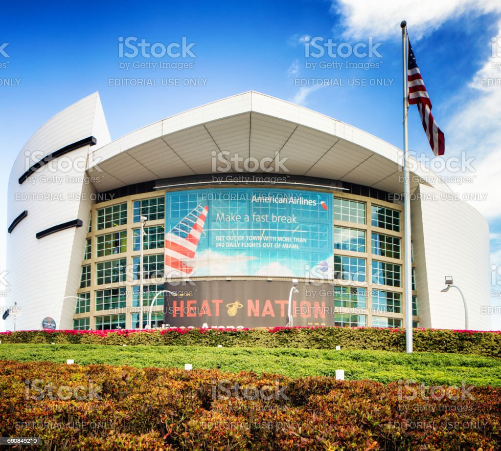 Miami American Airlines stadium facade with flag stock photo