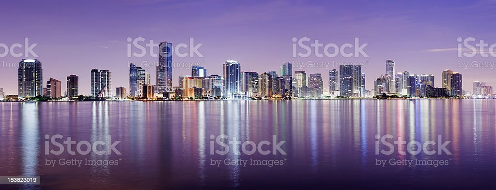 Miami And Brickell City Skyline at Night USA royalty-free stock photo