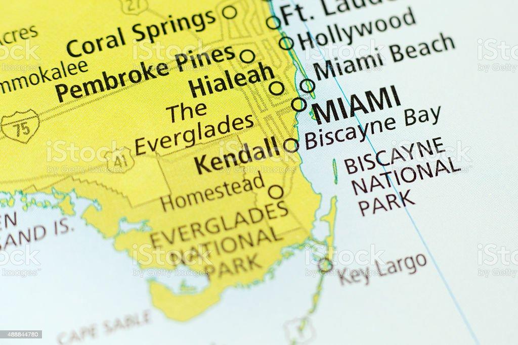 Miami area on a map stock photo