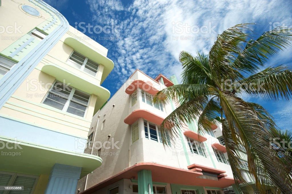 Miami Art Deco Drive Architecture Blue Sky Palm Trees royalty-free stock photo